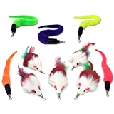 Pet Fit For Life 10 PC Squiggly Worm Furry Mouse Cat and Kitten Feather Toy Replacement Pack