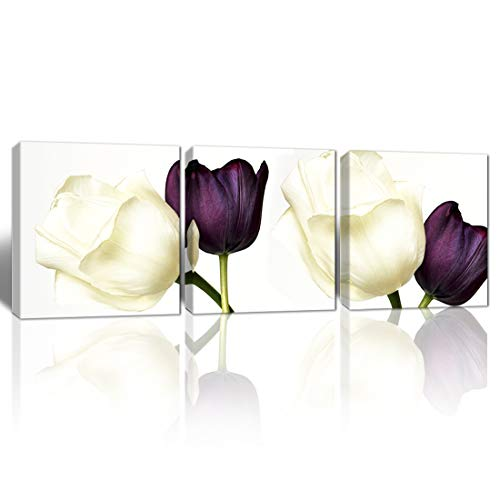 Mon Art Tulip Wall Art White Purple Tulips Pictures wall art flower pictures wall decor for bathroom wall decor rose pictures for living room bedroom deocor modern canvas pictures Framed 16'x16' 3 Pcs
