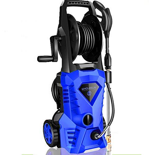 powertec pressure washers WHOLESUN 3000PSI Electric Pressure Washer 2.4GPM 1600W Power Washer with Hose Reel and Brush Blue