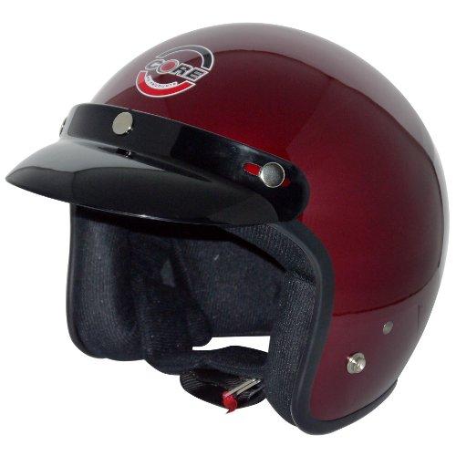 Biker Vintage Open Face Wine Red Helmet