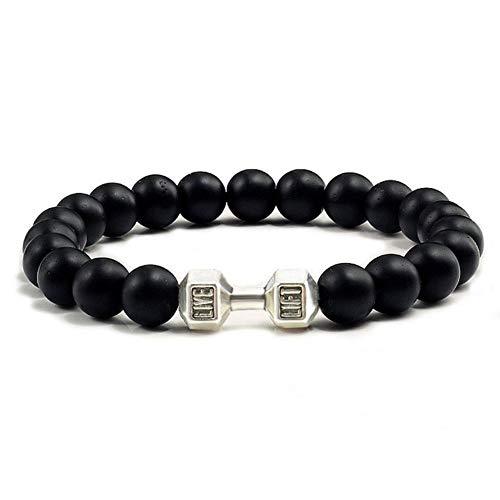 Boner Stone Hantel Armband schwarz matt Perlen Armbänder für Frauen Männer Fitness Barbell Schmuck, schwarz matt Silber