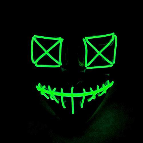 Queta Halloween Masken Karneval Festival Party Füchse Maske Kostüm Cosplay EL Glow Mask Halloween Zubehör Batteriebetrieben (Grün)