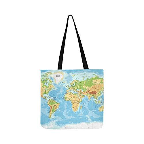 Physikalische Weltkarte Leinwand Tote Handtasche Schultertasche Crossbody Taschen Geldbörsen für Männer und Frauen Einkaufstasche
