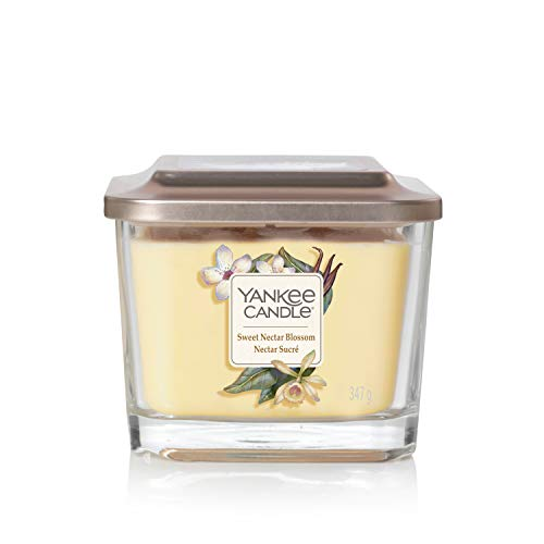 Yankee Candle Elevation Kollektion mit Plattformdeckel Mittlere 3-Docht-Quadratkerze, Sweet Nectar Blossom