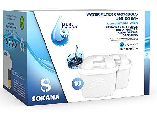 SOKANA   Cartuchos de filtro de agua para jarras BRITA Maxtra (paquete de 10)