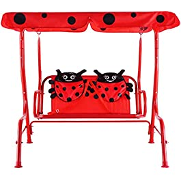 Casart Children's Swing, Patio Swing with Safety Belt and 2 Seats, Ladybug Pattern