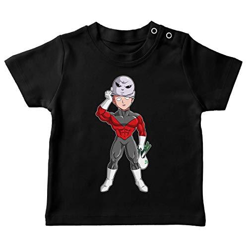 T-shirt bébé Noir parodie One-Punch Man - Dragon Ball Super - Saitama et Jiren - Le secret du plus grand guerrier de l'univers (T-shirt de qualité premium de taille 6 mois - imprimé en France)