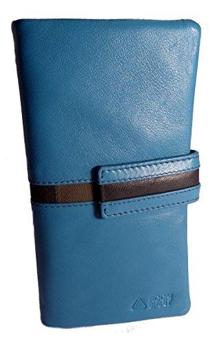 Cartera Billetero Mujer 100% Piel Extra Suave Hecha EN ESPAÑA (Azul)