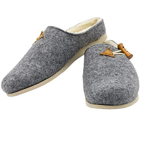 MatiMax - Pantofole in feltro, calde, comode, autunnali, invernali, grigie con elastico, Grigio (grigio.), 37 EU
