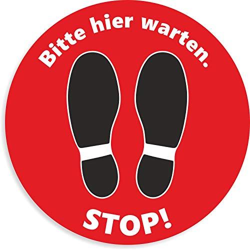 Fußbodenaufkleber Rot | Stop! Bitte Hier warten Aufkleber | Rund - 30 cm | Rutschhemmend und Trittsicher | wasserfester Bodenaufkleber | Warnhinweis Corona Sicherheitsabstand (Rot)