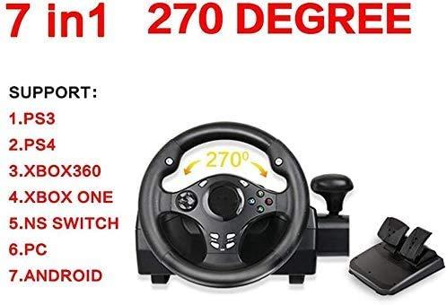 WUAZ Jeu Volant avec Simulation Responsive Pédaliers, pour PS4 / PS3 / PC