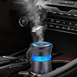 GENUIE USB Car Humidifier Diffuser, 300ML Cool Mist Potable Humidifiers Ultrasonic Home Air Refresher Purifier with 7 Colors LED Night Light, Quiet Operation for Travel Home Baby Office Car (Grey)