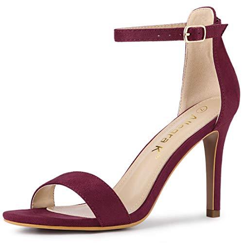 Allegra K Women's Suede Ankle Strap High Stiletto Heels Burgundy Sandals - 10 M US
