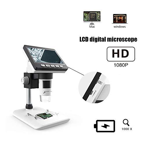 HAIHF USB Microscoop, 1000X elektronische vergroting HD met scherm draagbare industriële Digitale Microscoop Mini Endoscope Zoom Camera met Professionele Base Stand
