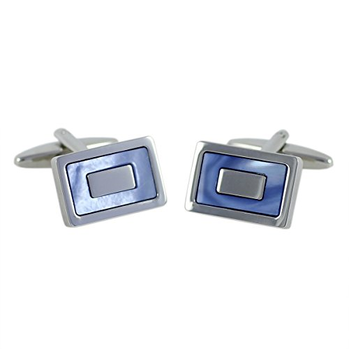 Lindenmann Cufflinks/Cuff Buttons, Silvery with Nacre Blue, Gift Box, 10523