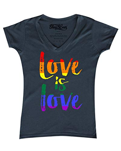 shop4ever Love is Love Women's V-Neck T-Shirt Gay Pride Shirts XX-LargeCharcoal 0