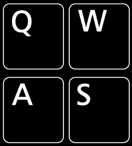 QWERTY US Pegatinas para Teclado no Transparentes, Fondo Negro, 11 x 13 mm