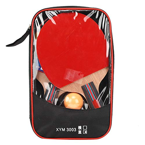 Alomejor Set de Tenis de Mesa Ping Pong Racket Paddle Set con 2 Palos y 3 Pelotas en Bolsa de Transporte Ideal para ni?os Adultos