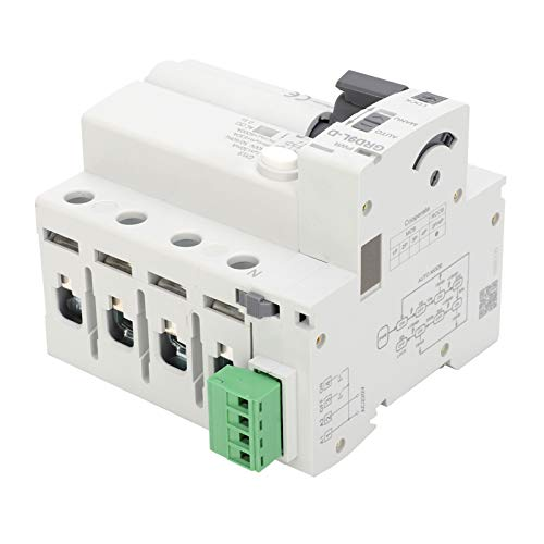 Protector de Voltaje 4P Dispositivo de Protección Contra Sobretensiones ABS Incorporado 3 Veces de Reconexión, Funciona con Disyuntor/interruptor de Protección Contra Fugas(63A)