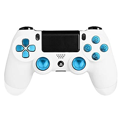 XFUNY(TM) Metal Bullet Buttons ABXY Buttons + Thumbsticks Thumb Grip and Chrome D-pad for Sony PS4 DualShock 4 Controller Mod Kit
