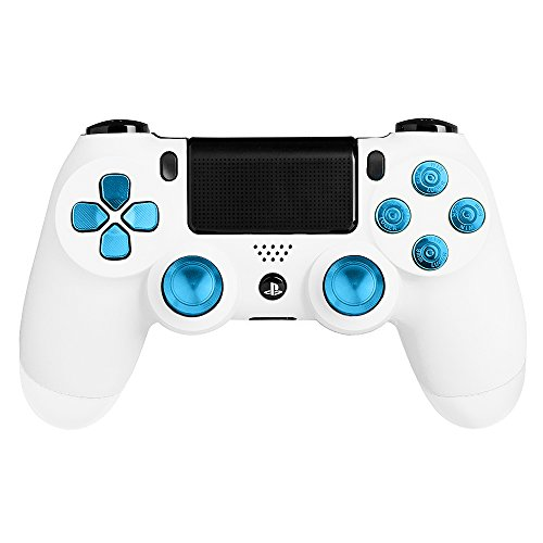 XFUNY Metal Bullet Buttons ABXY Buttons + Thumbsticks Thumb Grip and Chrome D-pad for Sony PS4 DualShock 4 Controller Mod Kit - Blue