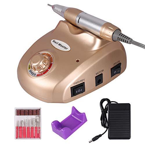 Torno para Uñas Profesional Pulidor Eléctrico de Uñas Manicura Pedicura Pulidor de Uñas (Dorado)