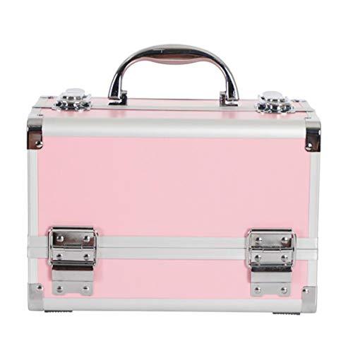 HIUHIU Professional makeup box, hand-held mirror, two-layer aluminum alloy suitcase, insert storage nail box,B2