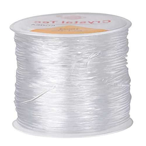 100m Hilos Elásticos de Cristal, 0.8mm Hilo Elástico Transparente Hilo de Abalorios para Brazalete Fabricación de Joyas con Perlas y Otras Manualidades