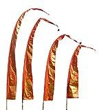 DEKOVALENZ Drachenfahnen-Stoff Gold Dragon |mit herzförmiger Spitze | Umbul Asien-Fahnen | Fahnenlänge: 5 Meter | Farbe: Orange