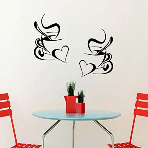 YIMING Cocina etiqueta de la pared café taza de café con corazón cocina vinilo arte de la pared decoración calcomanía pegatinas Mural 30x20 cm