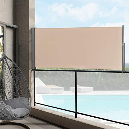Toldo Lateral 120 x 300 cm Exterior contra Viento, Sol y visión Extensible Marquesina Protectora Beige/Color Arena