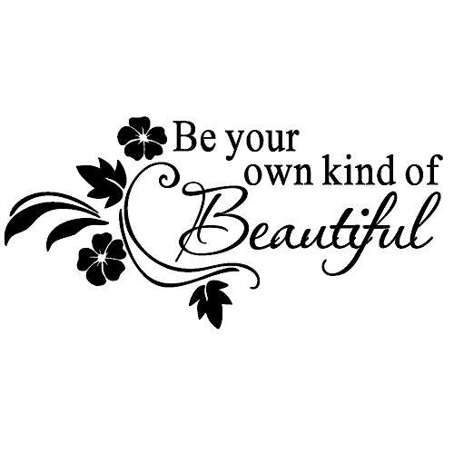 Be You Own Kind of Beautiful - AUHOTA Wandtattoo Zitate, Abnehmbare DIY Spruch Wandsticker Wandaufklebe für Kinder Schlafzimmer Wohnzimmer Ankleidezimmer - Blume Kunst-Wörter (23 × 11 Zoll, Schwarz)