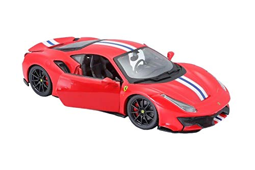 Ferrari 488 Pista Red with White and Blue Stripes 1/24 Diecast Model Car by Bburago 26026