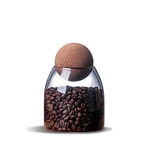 Tarros de cristal de 500 ml con tapa de corcho hermética, tarros de galletas transparentes para almacenamiento de alimentos para té, café, especias, azúcar, sal (tamaño S)