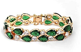 Fashion 18K Gold Plated Copper Elegant Diamonds Green High-quality Crystal Women Bracelet