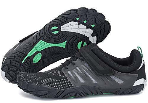 Escarpines para Mujer Hombre Zapatillas de Deporte Antideslizante Five Fingers Minimalistas Zapatillas Barefoot Trail Running Negro 42