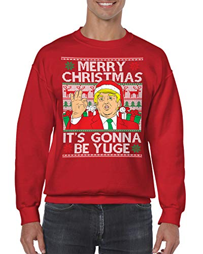 SpiritForged Apparel Trump Merry Christmas It's Gonna Be Yuge Ugly Christmas Crewneck Sweater, Red 2XL