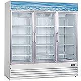 Commercial Freezer Glass 3 door Coated Steel Frame&Exterior, Aluminium Interior, Upright Reach in 80' Width NSF 12 Shelves Display Merchandiser 52 cuft, -10°F~ 0°F SD1.9L3BM