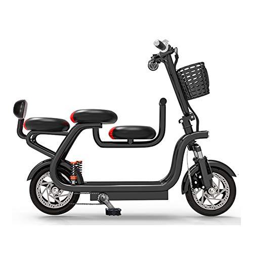WM Bicicleta eléctrica Harley para Adultos 48v Batería de Litio Bicicleta eléctrica con Asiento para niños Cesta de la Compra Ciclomotor Adecuado para Personas Mayores/Damas/Hombres,Negro