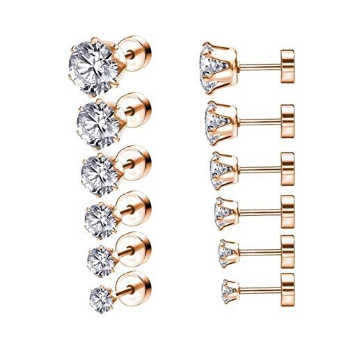 HLWJ 6pair / lot 3-8mm 316L stainless steel crystal earring set (Color : Rose Gold)
