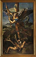 Raffaello Santi 古典フレーム ジクレー キャンバスに印刷 -有名な絵画 美術品 ポスター-再生 壁の装飾 ハングする準備ができて(大天使ミカエルとサタン) #JK
