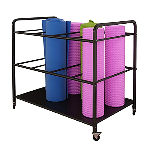 Yoga Mat Storage Cart with Wheels, Space Saver Foam Rollers & Mobility Equipment Storage Rack, for Yoga Studio, Hold 12 Exercise Mats (Color : Black)
