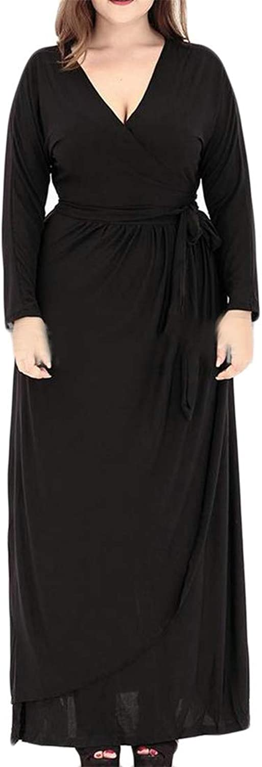 Lutratocro Women's Casual Pleated Plus Size V Neck Belt Long Sleeve Maxi Dress