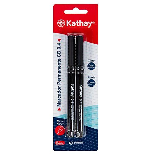 Kathay 86211210. 2 Rotuladores Permanentes, Color Negro, Punta Aguja 0,4mm, Perfecto para CDs