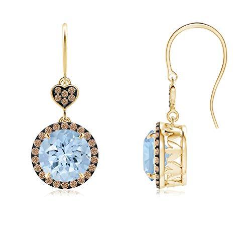 Orecchini pendenti con acquamarina e diamanti color caffè (7 mm acquamarina) e Oro giallo, cod. ANG-E-SE1043AQBRD-YG-AA-7