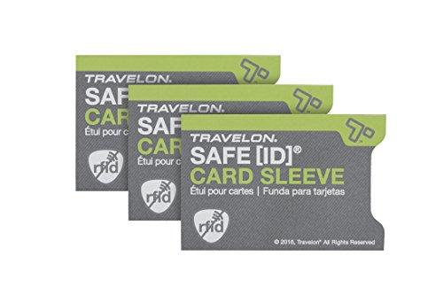 Travelon Safe Id Set of 3 RFID Blocking Sleeves, Gray, One Size