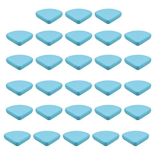 uxcell Protectores de esquina para esquinas de muebles, protectores de esquina de mesa, adhesivos de silicona suave, color azul, 30 x 30 x 9 mm, 28 unidades