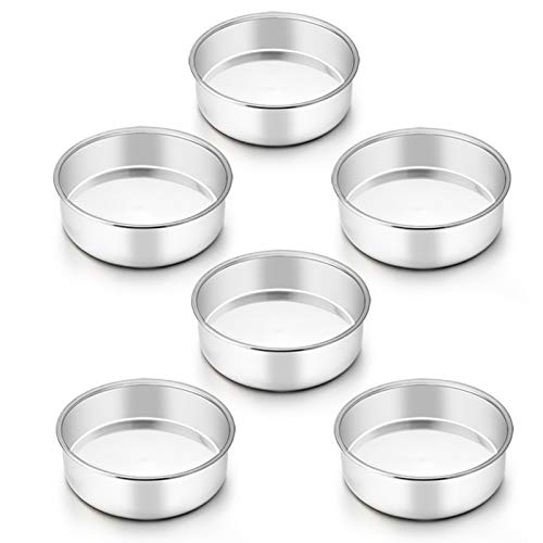 TeamFar 6 Inch Cake Pan, 6 Pcs Cake Pan Set Round Baking Pan Stainless Steel for Baking Steaming Serving, Fit in Oven Pressure Cooker Air Fryer, Healthy & Heavy Duty, Easy Clean & Dishwasher Safe
