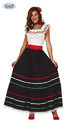 Guirca 86591 Disfraz Adulta Mejicana Talla M 38-40, Mujeres, Blanco/Rojo/Verde
