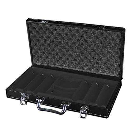 YOULEMIGN Schwarzer Tragbarer Poker-Chip-Hülle - Kunstleder-Koffer - 300/500 Chips-Kapazität - Verstärkt, Stark, Robustes Design,300